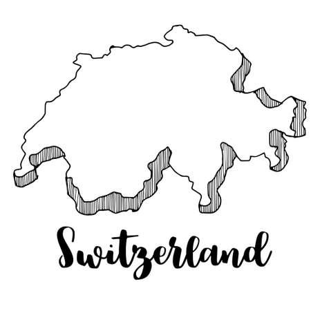 スイス連邦共和国のマップ、ベクター グラフィックの描画の手  イラスト・ベクター素材