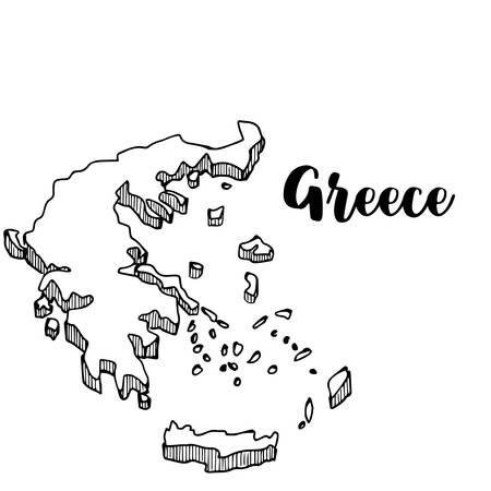 Hand drawn of Greece map, vector illustration