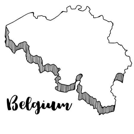 Hand getrokken van de kaart van België, vectorillustratie Stock Illustratie