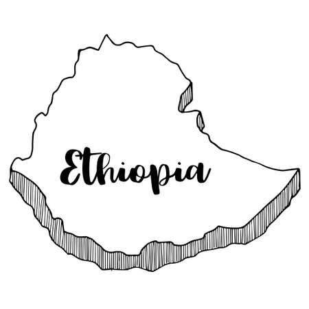 Hand drawn of Ethiopia map, vector illustration