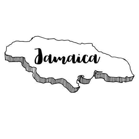 Hand drawn of Jamaica map, vector illustration