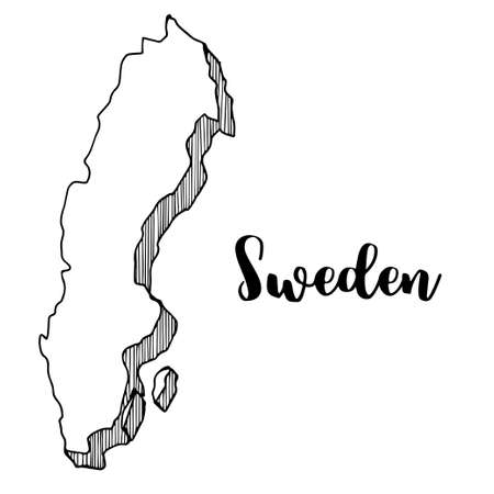 Hand drawn of Sweden map, vector illustration Çizim