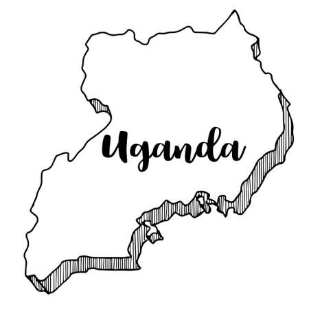 Hand drawn of Uganda map, vector illustration