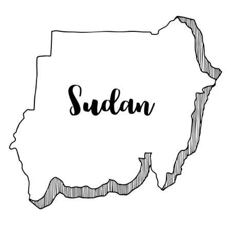 Hand getrokken van de kaart van Soedan, vectorillustratie