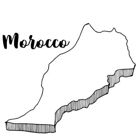 Disegnato a mano del Marocco mappa, illustrazione vettoriale Archivio Fotografico - 82106561
