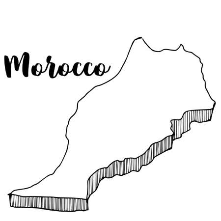 Hand drawn of Morocco map, vector illustration