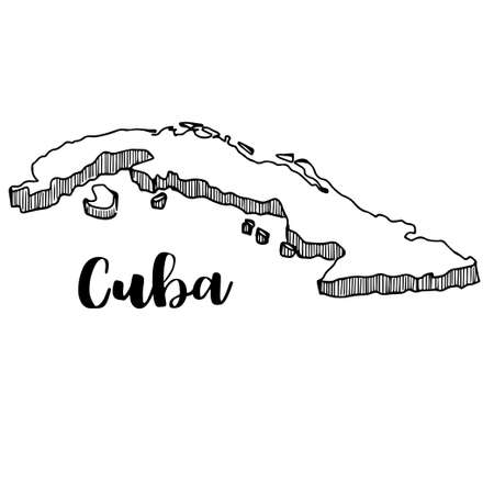 Hand drawn of Cuba map, vector illustration Çizim