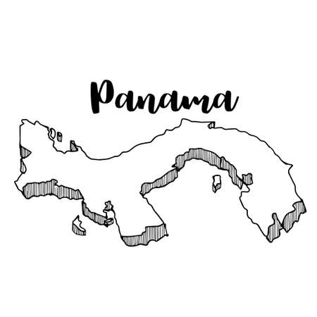 Hand drawn of Panama map, vector illustration