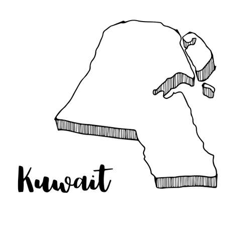 Hand drawn of Kuwait map, vector illustration Çizim
