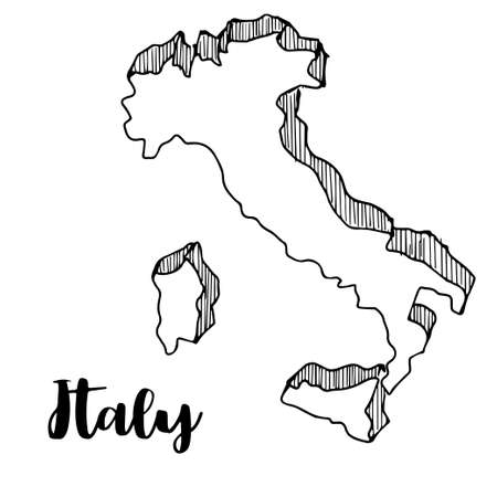 Hand drawn of Italy map, vector illustration