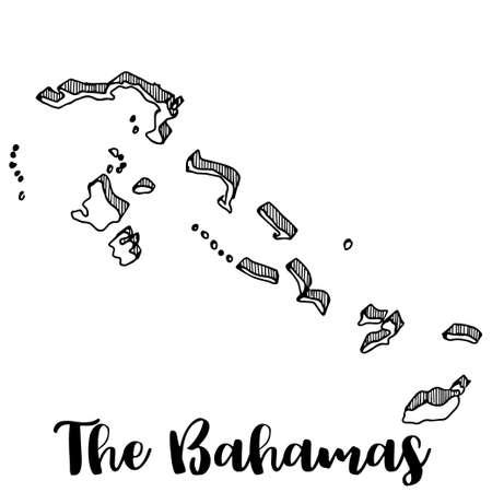 Hand drawn of The Bahamas map, vector illustration Illustration