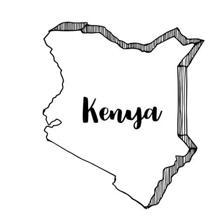 Hand drawn of Kenya map, vector illustration