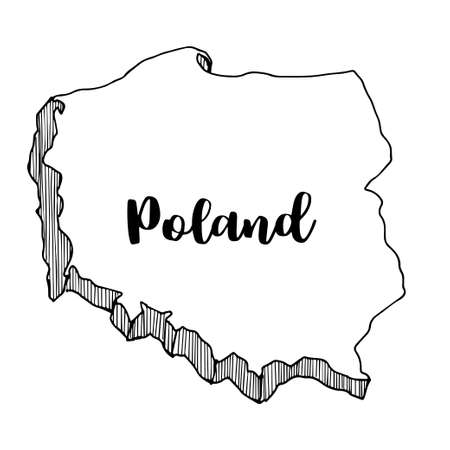 Hand getrokken van de kaart van Polen, vectorillustratie