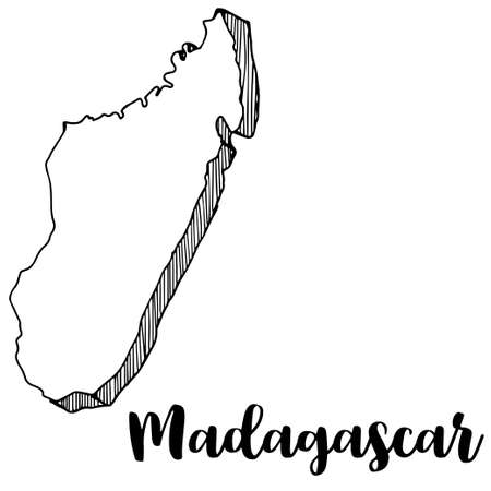 Hand drawn of Madagascar map, vector illustration