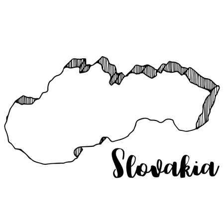 Hand drawn of Slovakia map, vector illustration