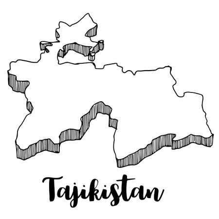 Hand drawn of Tajikistan map, vector illustration