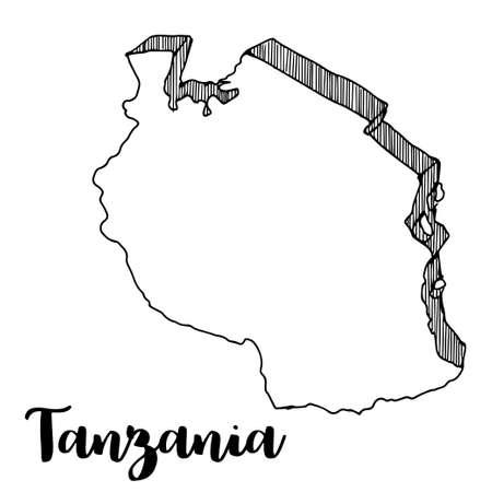 Hand drawn of Tanzania map, vector illustration