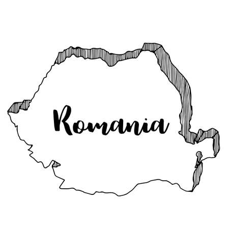 Main dessinée de la carte de la Roumanie, illustration vectorielle Banque d'images - 82546439