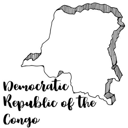 Hand drawn of Democratic Republic of the Congo map, vector illustration