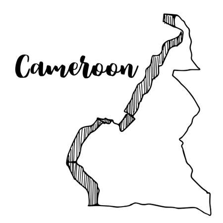 Hand drawn of  Cameroon map, vector illustration Çizim