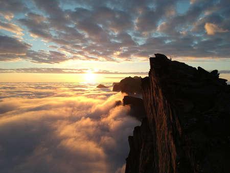 ロウン パイン、ノルウェー ・ セグラ特集山から夕日の空撮