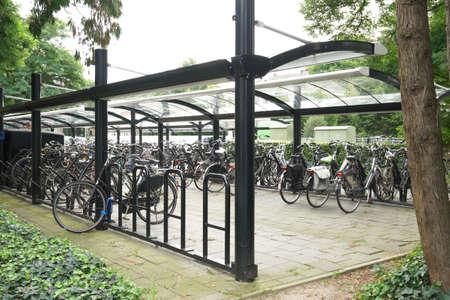 オランダの鉄道駅の駐車場の自転車