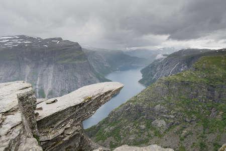 曇り悪天候、ノルウェーの Trolltunga