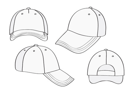 rear view: Blank Cap (different points of view) With Space For Your Design Illustration