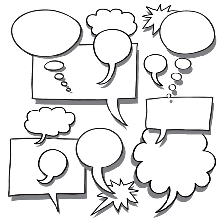 discourse: Comics Word and Thought Bubbles With Space For Text
