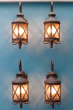 lighting lamp on blue wall Stock Photo - 16762766