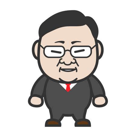 office worker cartoon: fat asian  businessman