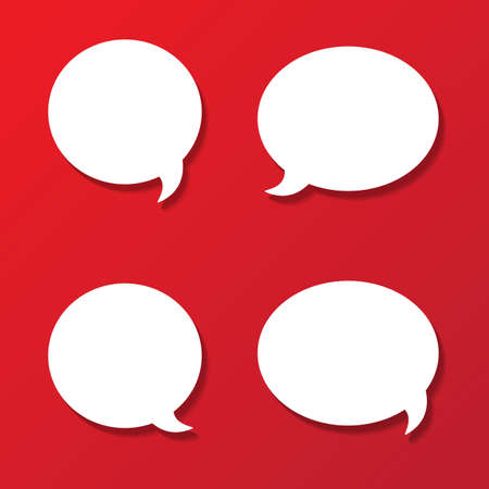 white paper rounded speech bubbles on red background   Vector