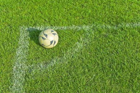 Soccer ball over green grass Banco de Imagens