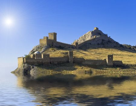 nauplio:  fortress is a sea Stock Photo