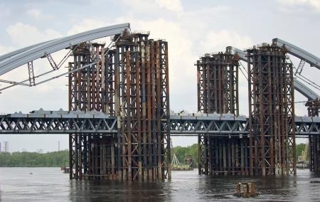 construction of a bridge across the river Banco de Imagens