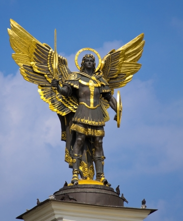 michel: Archangel Michael Saint patron of Kiev in independence square, Kiev Stock Photo