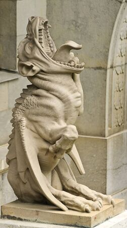 grotesque: statue of a chimera gargoyle