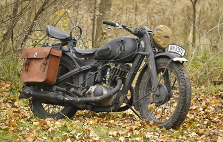 sidecar: Kiev, Ukraine - November 3: German heavy motorcycle during the Second World War. Military reconstruction. History club Red Star. November 3 , 2013 in Kiev, Ukraine