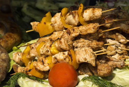 Pieces of shish kebab on a skewer