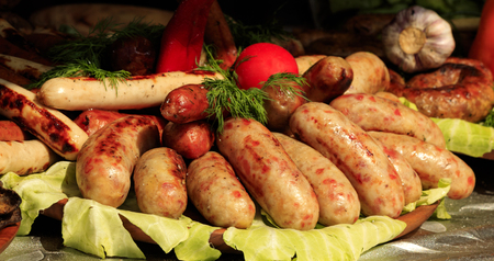 Bavarian sausages on the table.