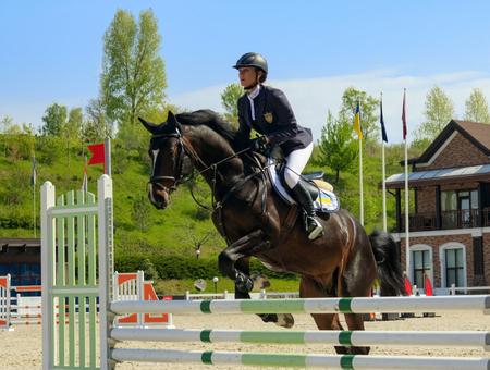 Kiev, Ukraine- April 30,2017:Championship of Ukraine on equestrian sport among amateurs. Editorial
