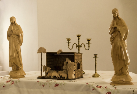 Catholic altar in the old castle. Editorial