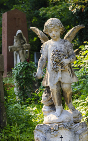 A statue of an angel in an old cemetery.