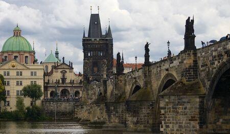 Prague Charles Bridge over the sky. Banco de Imagens