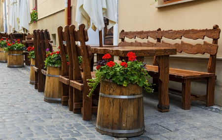 cafe tables on the streets of the old town