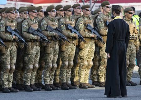 Kiev Ukraine Aug. 22, 2018: Rehearsal of the parade in honor of Independence Day of Ukraine. Kiev, Agu 22, 2018. Editorial