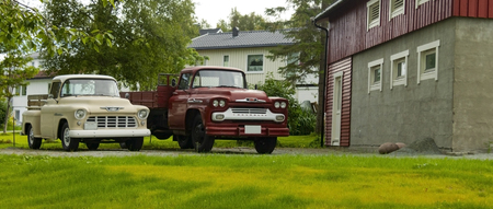 Norway-Bodo Aug 02,2018: Exhibition of retro cars in the courtyard of the house. Bodo Aug 02.2018.