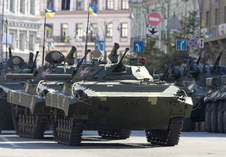 military equipment on the streets of the city