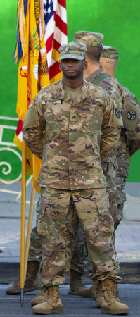Kiev Ukraine Aug. 22, 2018: American soldiers on the background of the flag. Day of Ukraine. Kiev, Agu 22, 2018.