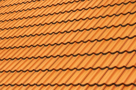 tile of clay on the roof Stock Photo